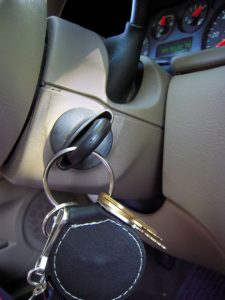 Keys in the ignition of a car Keys representing unlocking an idea, treasure, or love